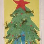 Об`ємна аплікація з паперу: новорічна ялинка з долоньок дитини. Приємне спільна творчість