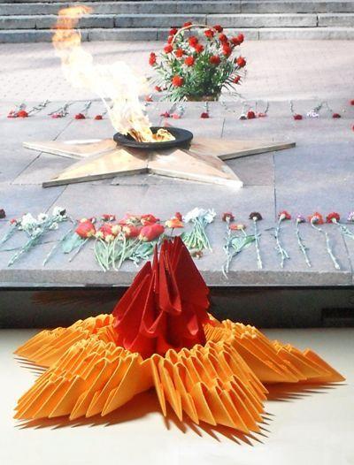 Виріб вічний вогонь з паперу до 9 травня